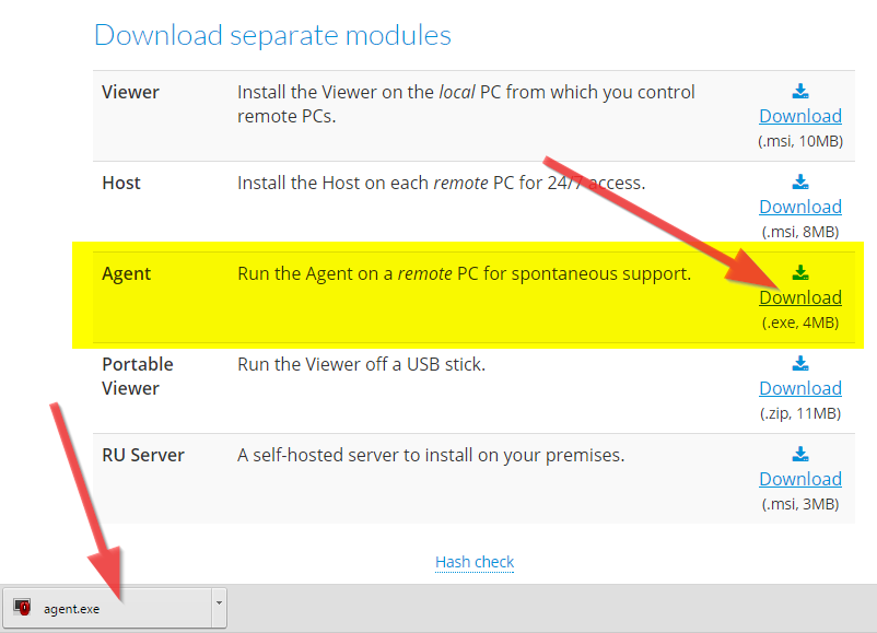 Download agent fra Remote Utilities