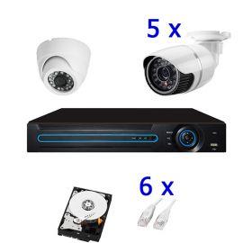 PoE Kit 5: 5 udendørs & 1 indendørs HD IP kamera, 8 kanals PoE NVR