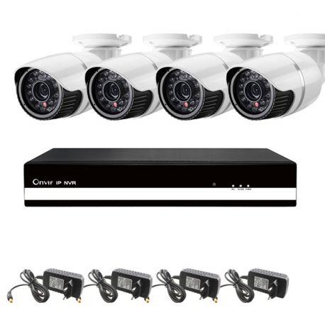 Kit 1: 4 udendørs HD IP kamera, 4 kanals NVR