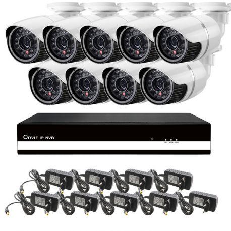 Kit 3: 9 udendørs HD IP kamera, 9 kanals HVR